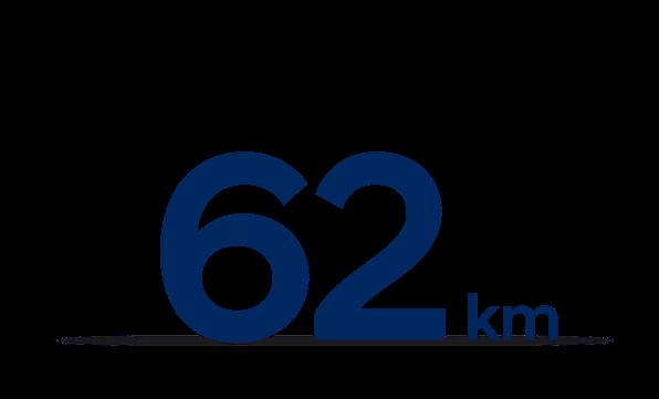 Op til 62 kilometer på el